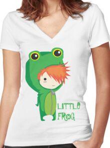 Little frog Women's Fitted V-Neck T-Shirt