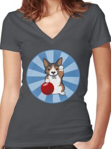 Maneki Corgi (Tricolor) Women's Fitted V-Neck T-Shirt