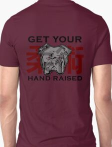 """Get Your Hand Raised"" - Jiu Jitsu Bulldog (on white) T-Shirt"