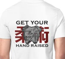 """Get Your Hand Raised"" - Jiu Jitsu Bulldog (on white) Unisex T-Shirt"