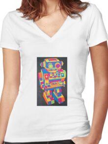 Neon Robot 5 Women's Fitted V-Neck T-Shirt