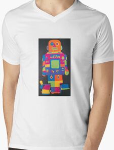 Neon Robot 6 Mens V-Neck T-Shirt
