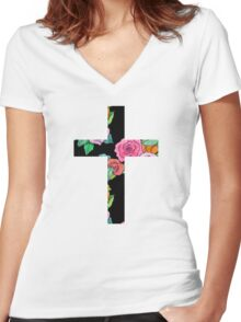 Christian Cross with roses Women's Fitted V-Neck T-Shirt