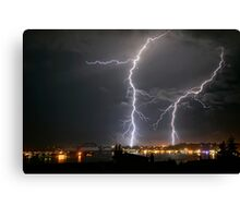 Lightning Over Yaquina Bay Canvas Print
