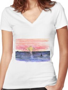 Red Sky Women's Fitted V-Neck T-Shirt