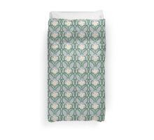 Art Nouveau Style White Flowers Duvet Cover
