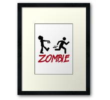 Zombie running person Framed Print