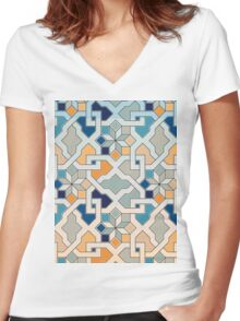 Geometric Pattern - Oriental Design  Women's Fitted V-Neck T-Shirt