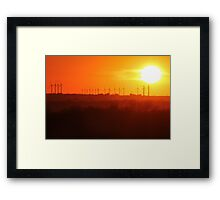 Windmills and Sunset Framed Print