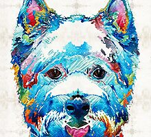 Colorful West Highland Terrier Dog Art Sharon Cummings by Sharon Cummings