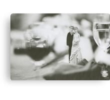 Bride and groom cake topper wedding marriage banquet black and white analog 35mm film photo Canvas Print