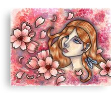 Mono no Aware - Girl with Cherry Blossoms Canvas Print