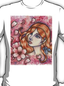 Mono no Aware - Girl with Cherry Blossoms T-Shirt