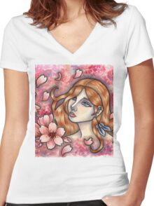 Mono no Aware - Girl with Cherry Blossoms Women's Fitted V-Neck T-Shirt