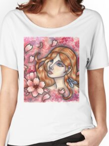 Mono no Aware - Girl with Cherry Blossoms Women's Relaxed Fit T-Shirt