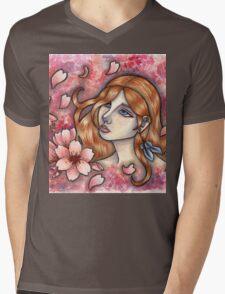 Mono no Aware - Girl with Cherry Blossoms Mens V-Neck T-Shirt