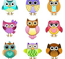 Set of Cute Owls by kennasato