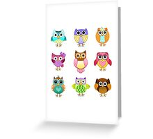 Set of Cute Owls Greeting Card