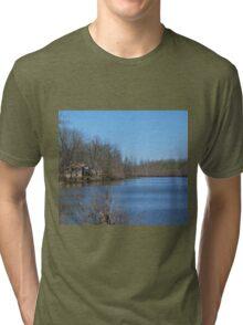 Mississippi River stilt house ghost town Tri-blend T-Shirt
