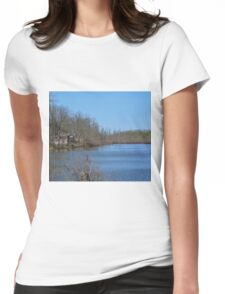 Mississippi River stilt house ghost town Womens Fitted T-Shirt