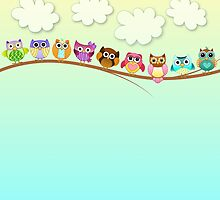 Cute Owls on a Branch by kennasato