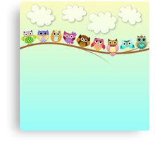 Cute Owls on a Branch Canvas Print