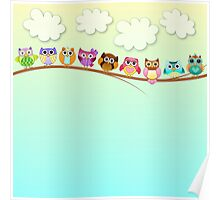 Cute Owls on a Branch Poster