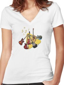 Pick Your Guitar Women's Fitted V-Neck T-Shirt