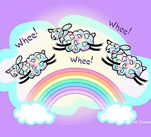 Three Whee Sheep Leaping A Rainbow by M Sylvia Chaume