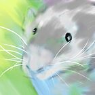 Nutmeg, Pet Rat 8 x10 Digital Watercolor Painting Print by CheekyEvil