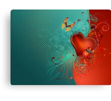 Red Heart with Butterfly Canvas Print