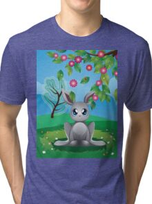 White Rabbit on Lawn Tri-blend T-Shirt