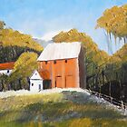 Farm and Red Barn by PamelaMeredith