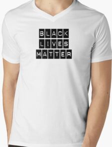 Black Lives Matter (Black Blocks Over White) Mens V-Neck T-Shirt