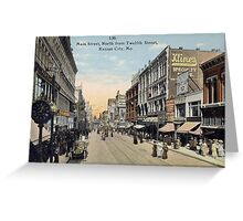 1911 Main Street KCMO North view from Twelfth Street antique Postcard Greeting Card