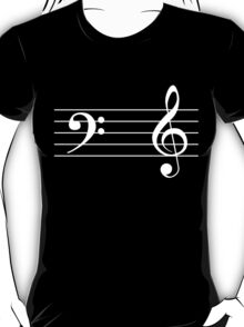 Left Hand  Bass / Right Hand Treble (White on Black/Colour Version) T-Shirt