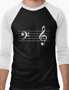Left Hand  Bass / Right Hand Treble (White on Black/Colour Version) Men's Baseball ¾ T-Shirt