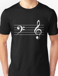 Left Hand  Bass / Right Hand Treble (White on Black/Colour Version) Unisex T-Shirt