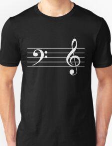 Left Hand  Bass / Right Hand Treble (White on Black/Colour Version) T-Shirt