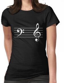 Left Hand  Bass / Right Hand Treble (White on Black/Colour Version) Womens Fitted T-Shirt