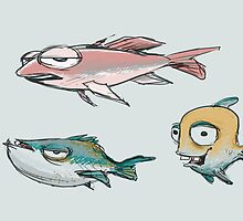 Yellow fish, blue fish, pink fish by pacepaintings