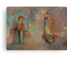 Odilon Redon - Woman in a gothic arcade- woman with flowers Canvas Print