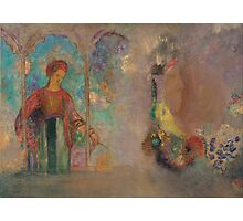 Odilon Redon - Woman in a gothic arcade- woman with flowers Photographic Print
