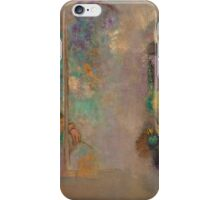 Odilon Redon - Woman in a gothic arcade- woman with flowers iPhone Case/Skin