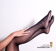 Black Pantyhose, Brown Legs by f3timage