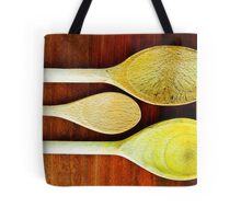 Wooden Spoons on a Dark Surface Tote Bag