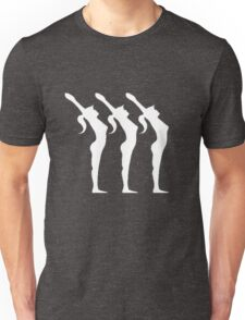 Silhouette of three stretching Unisex T-Shirt