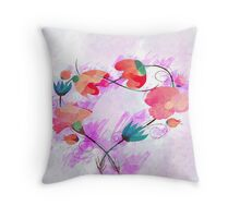 Beautiful Pink flower, Watercolor painting Throw Pillow