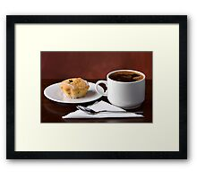 Black coffee and muffin Framed Print