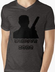 Danger Zone Black Print Mens V-Neck T-Shirt